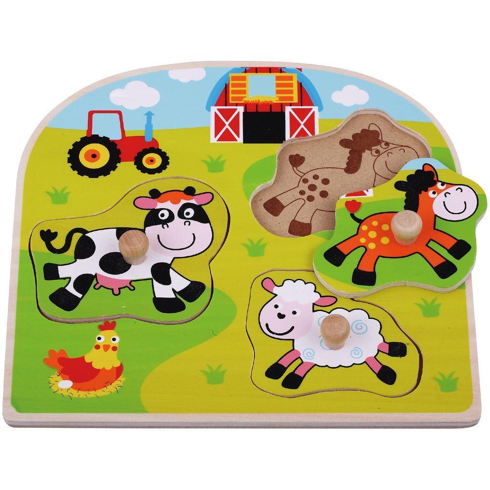 Puzzle din lemn Sun Baby Ferma Animale Domestice