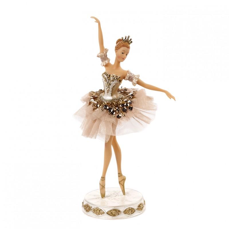 Statueta balerina dansand costum tiul crem