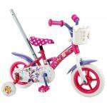 Bicicleta pentru fete 10 inch cu maner roti ajutatoare si cosulet Minnie Mouse