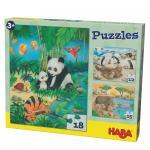 Set 3 puzzleuri Haba Familii de animale