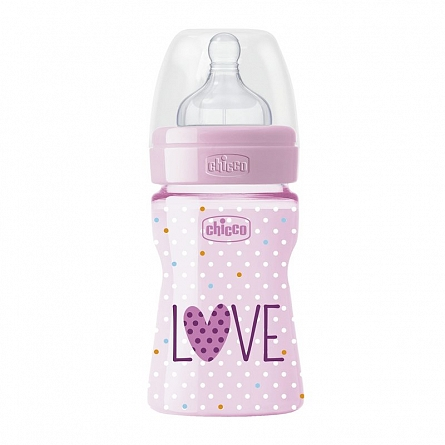 Biberon Chicco WellBeing Love Edition PP 150ml tetina silicon flux lent Girl 0BPA 0luni+