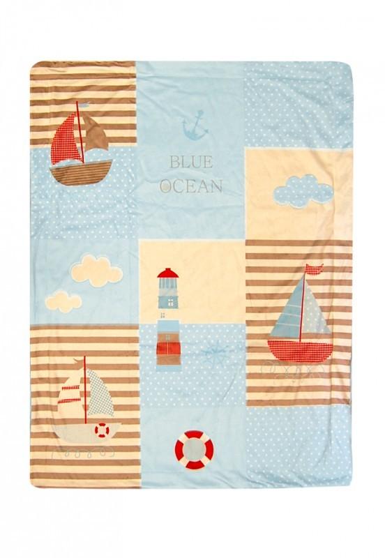 Patura De Catifea Cu Strat Dublu Blue Ocean 75x100 Cm