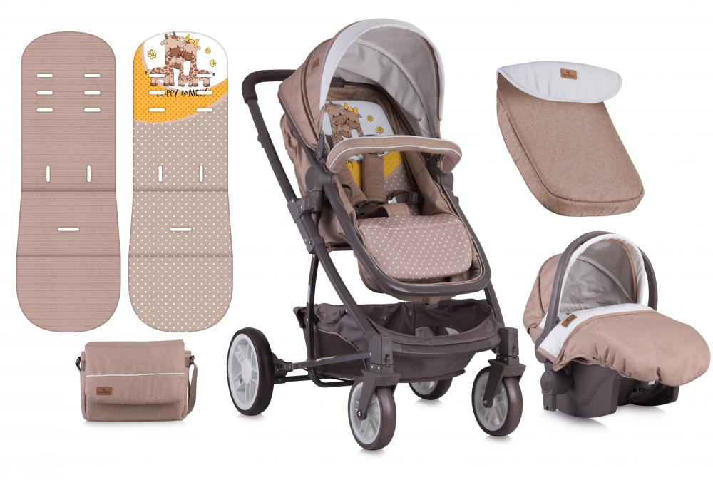 Carucior Set S-500 cos auto inclus Beige Yellow Happy Family