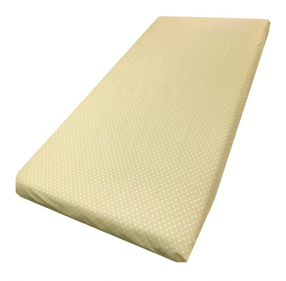 Cearsaf cu elastic pe colt 120x60 cm Buline albe pe crem