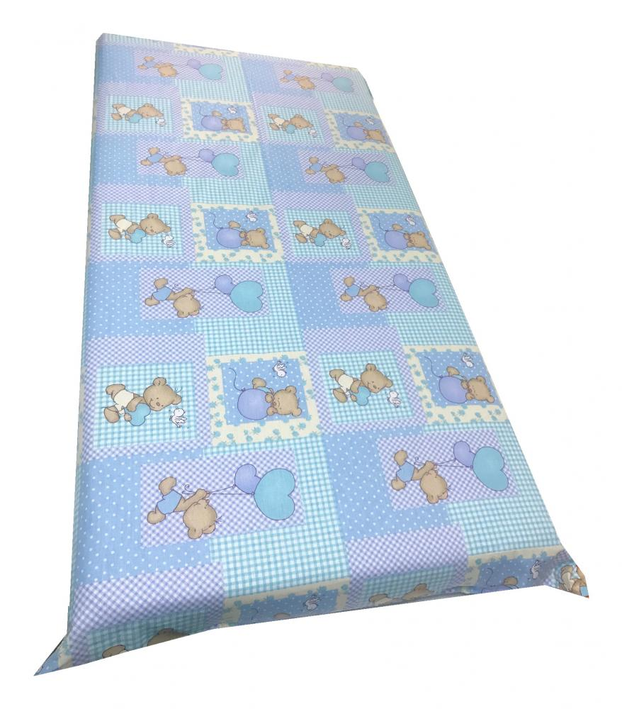 Cearsaf cu elastic pe colt 120x60 cm Ursuleti pe albastru