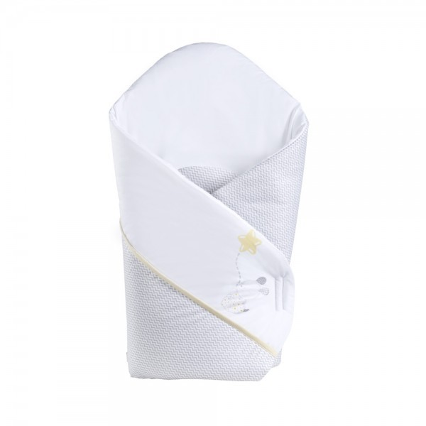 Patura De Infasat Bebelusi Wrap Choo-choo Yellowgrey K086