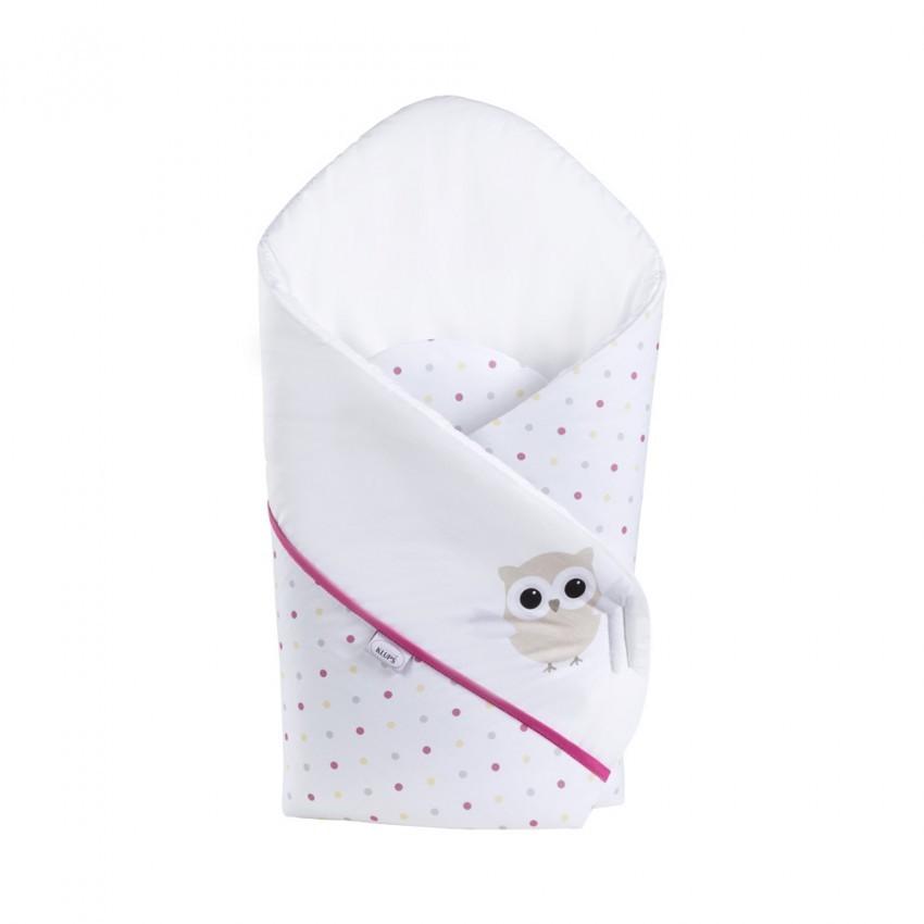 Patura De Infasat Bebelusi Wrap Night Birds Pink H237