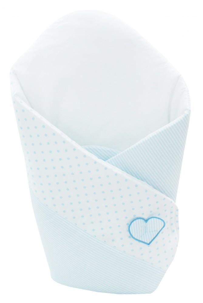 Patura de infasat bebelusi wrap I love You ursulet alb/albastru H 138