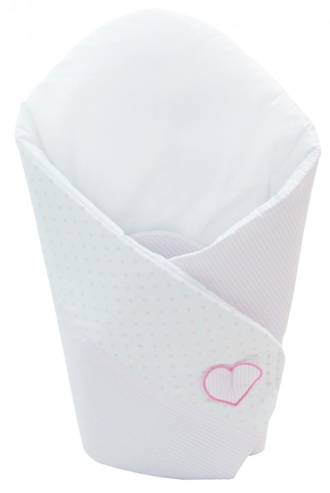 Patura de infasat bebelusi wrap I love you ursulet alb/roz H137