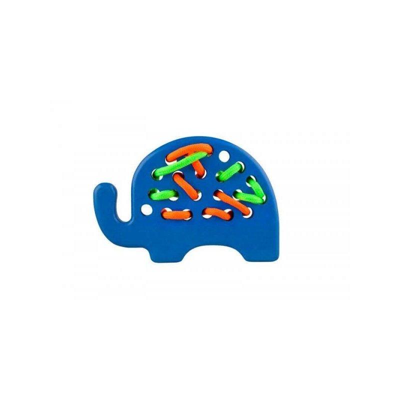 Jucarie din lemn cu sireturi Elefant Albastru