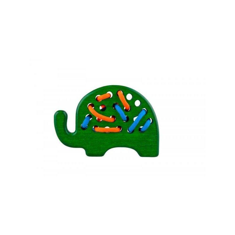 Jucarie din lemn cu sireturi Elefant Verde