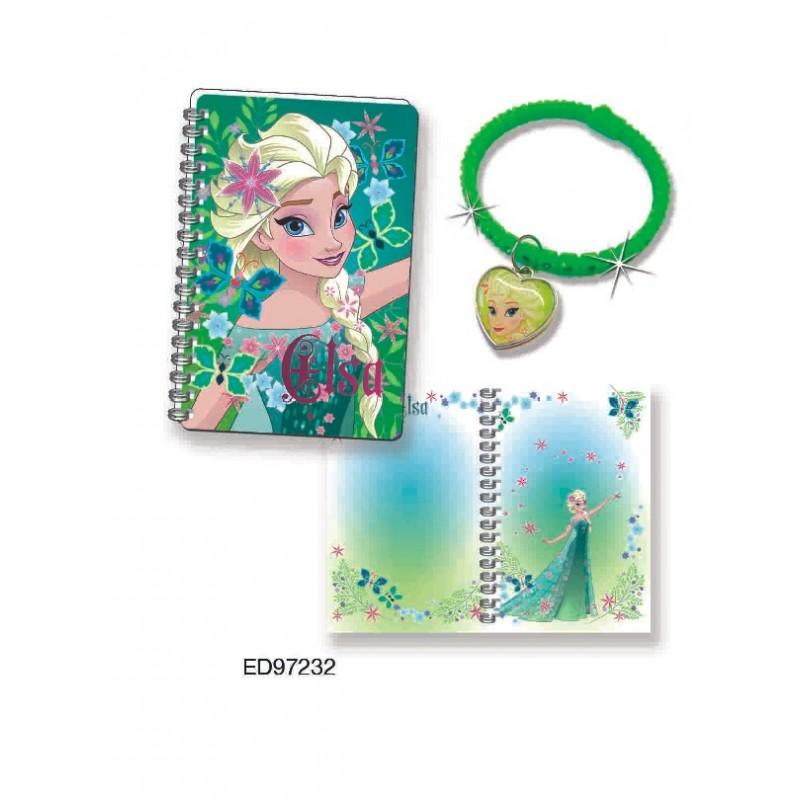 Mini jurnal 3D cu bratara din silicon verde Elsa