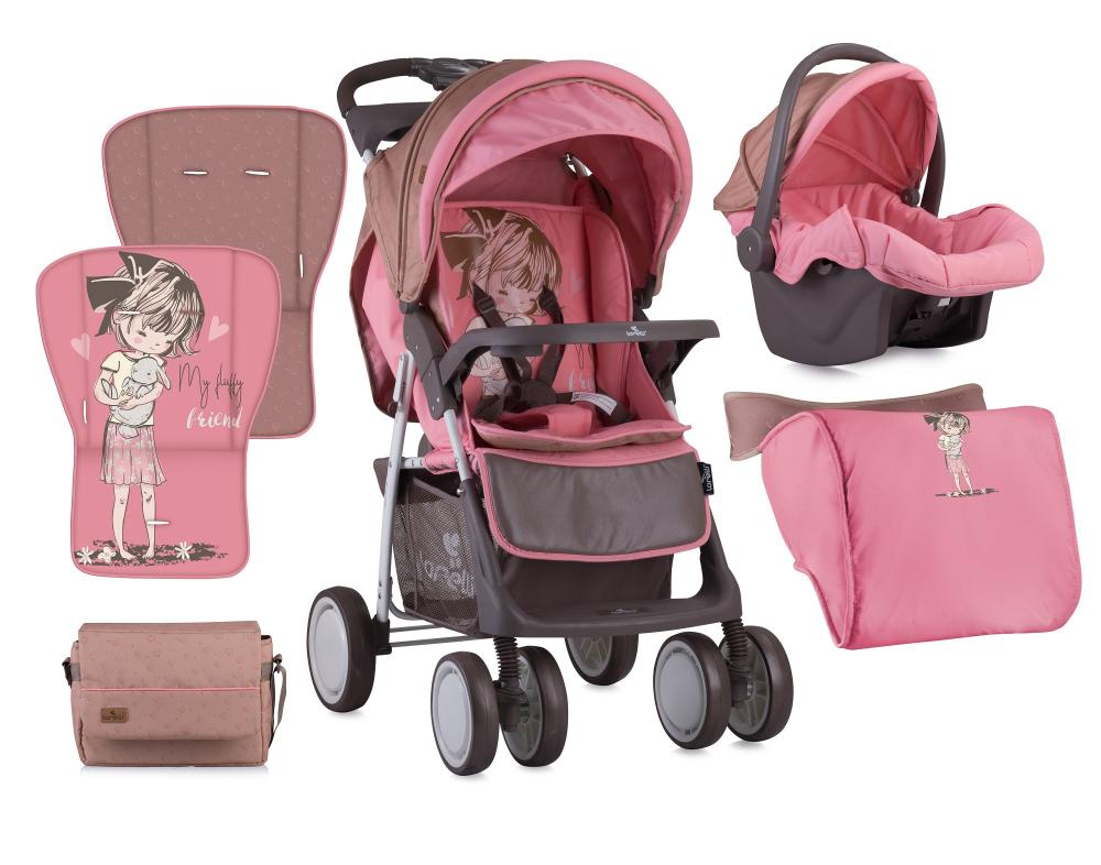 Set Carucior 2 in 1 Foxy cos auto inclus Beige Pink Girl