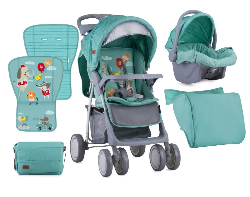 Set Carucior 2 in 1 Foxy cos auto inclus Green Happy Animals