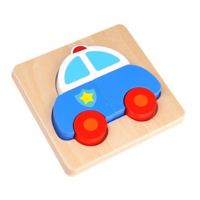 Mini puzzle Masina politiei Tooky Toy