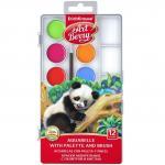 Set acuarele in 12 culori cu pensula si protectie UV