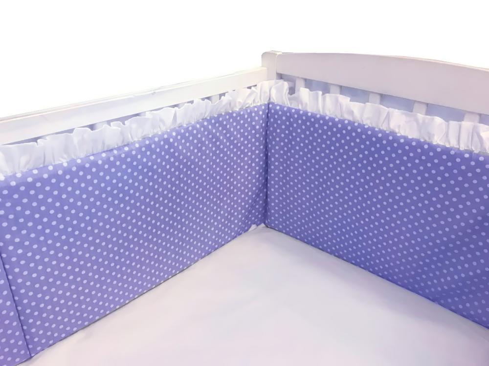 Aparatori laterale cu volanase si buline 120x60 h30 cm albastru