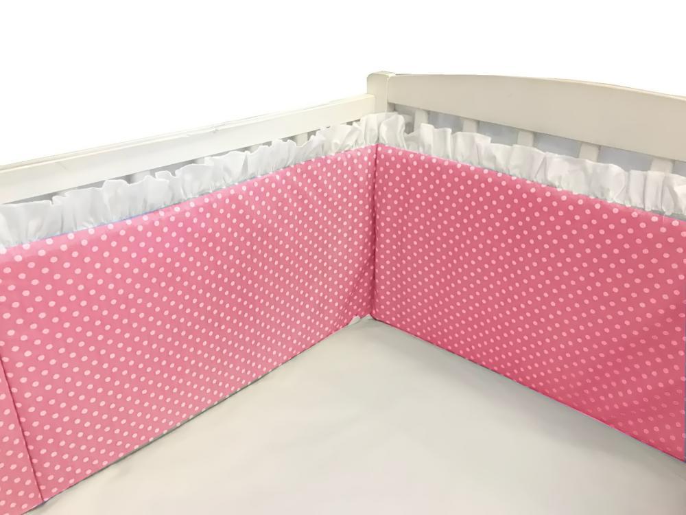 Aparatori laterale cu volanase si buline 140×70 h30 cm roz din categoria Camera copilului de la DESEDA