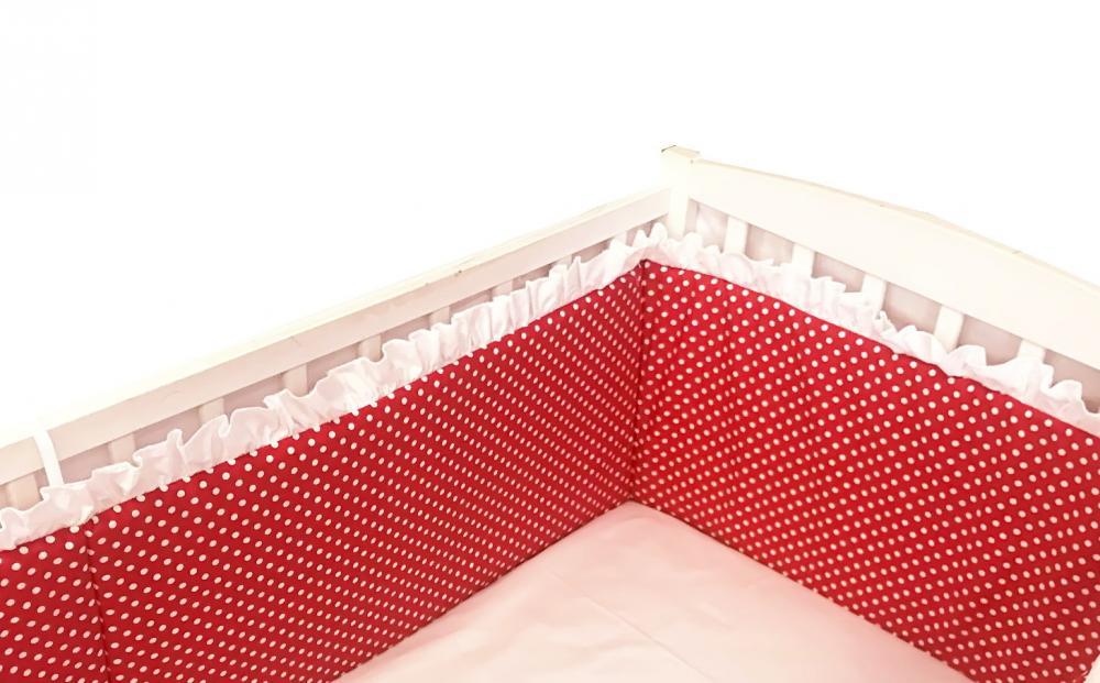 Aparatori laterale cu volanase si buline 140x70 h60 cm rosii