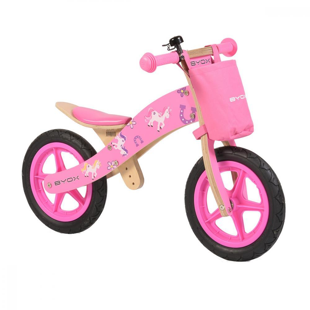 Bicicleta fara pedale din lemn Woody Pink