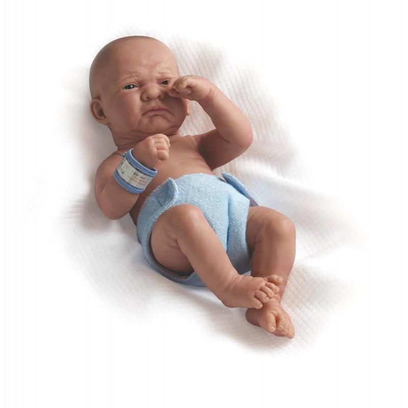 Jucarie Bebe nou nascut baiat plangacios cu pampers 36 cm
