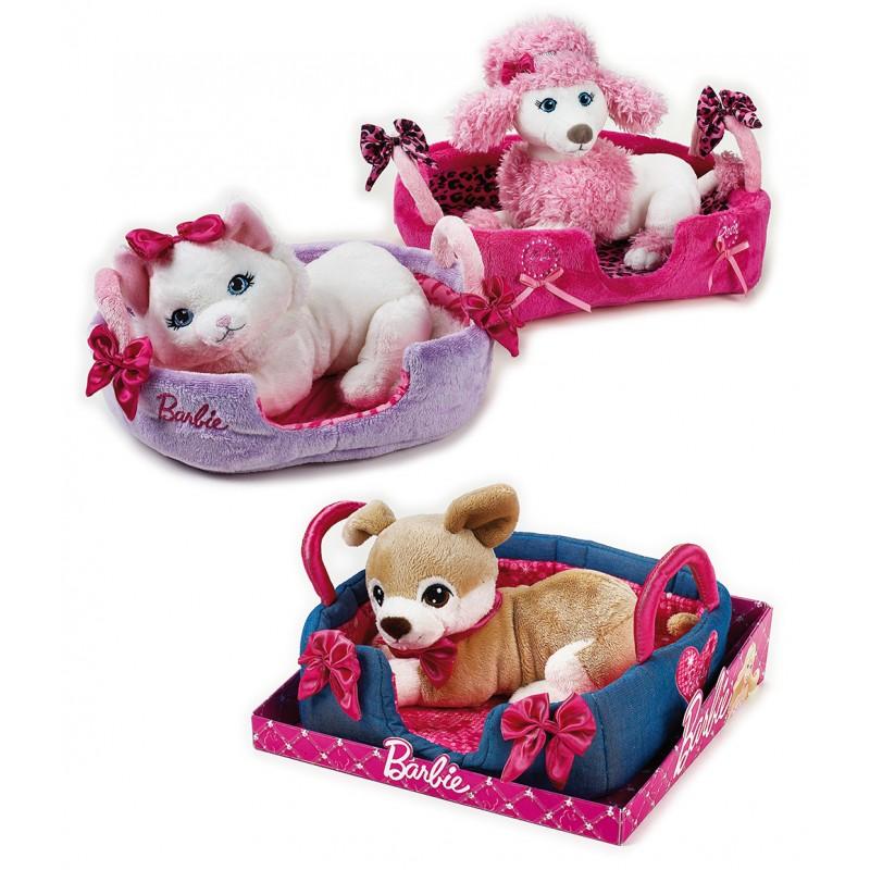 Jucarie din plus Animal companie Barbie cu pat 20 cm