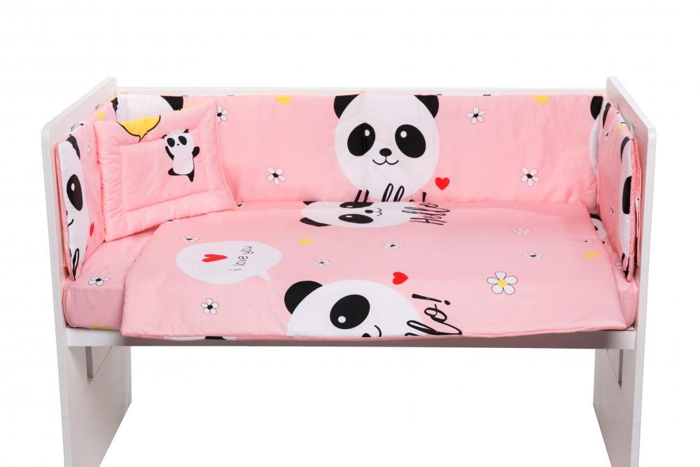 Lenjerie patut cu 5 piese Pink Panda