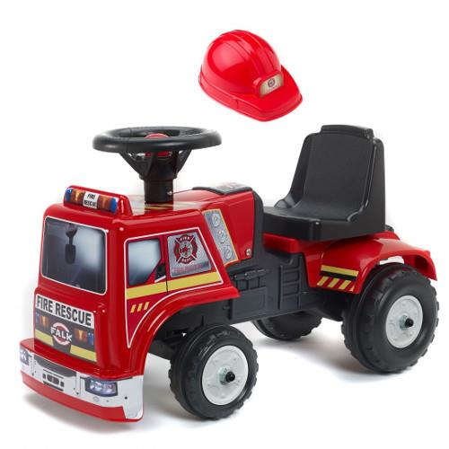 Masina de Pompieri fara Pedale Baby Fire Rescue cu Casca de Protectie