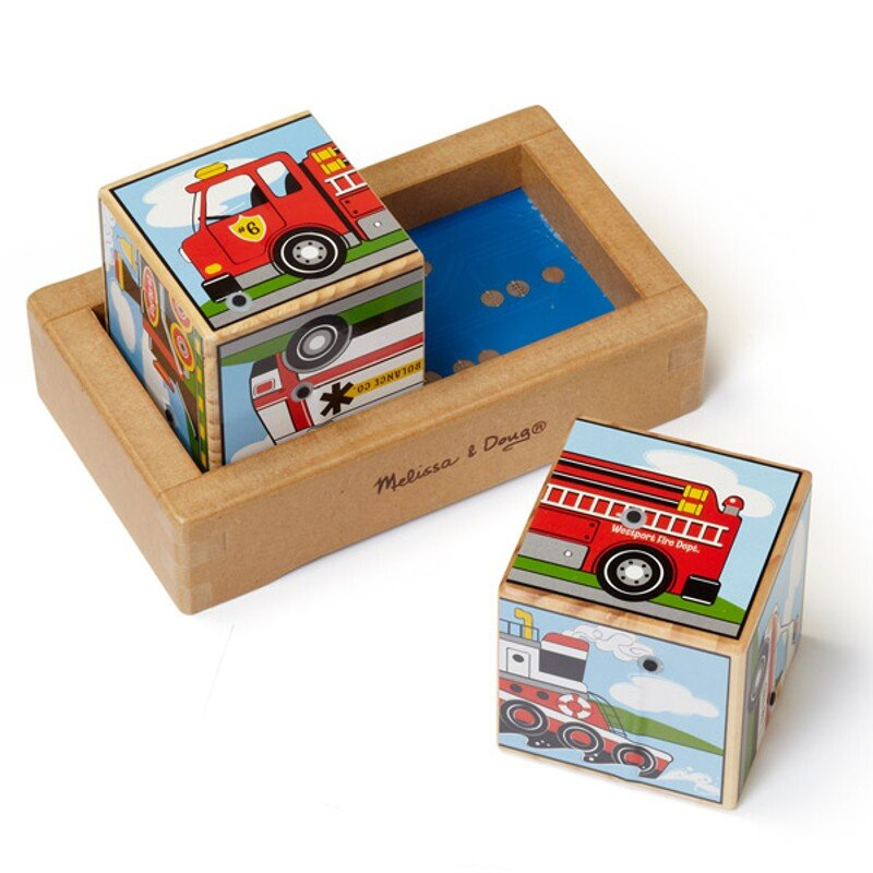 Puzzle din lemn cu suntete de vehicule
