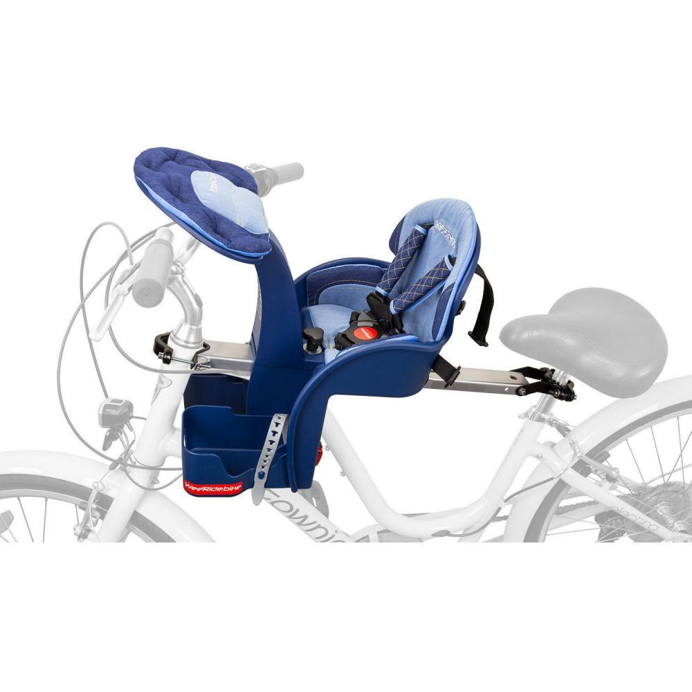 Scaun de bicicleta SafeFront Deluxe 2018 si Casca protectie Flames Albastru WeeRide WR10A