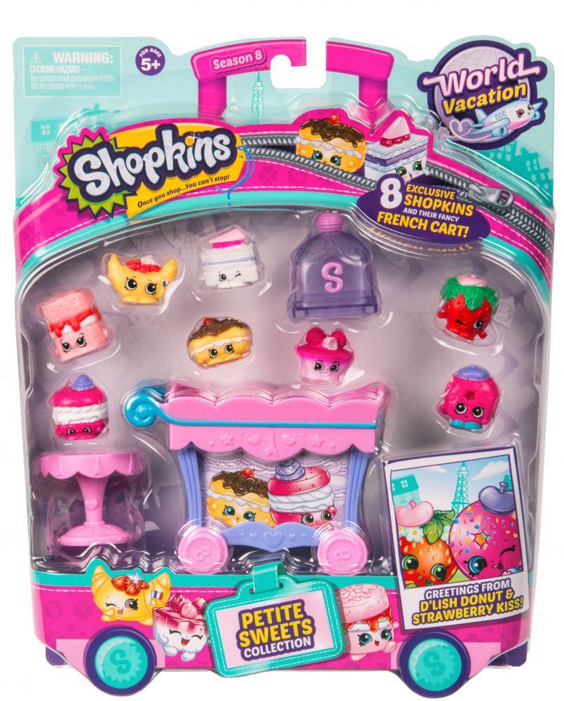 Shopkins mini dulciuri asortate si carucior 8 figurine Pink