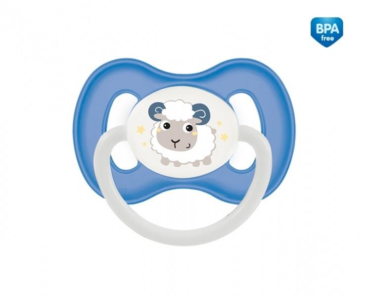 Suzeta ortodontica din latex cu inel fosforescent 6-18 luni Albastru