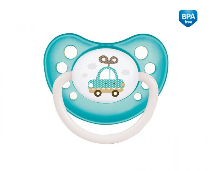 Suzeta ortodontica din silicon cu inel fosforescent 18 luni+ Albastru