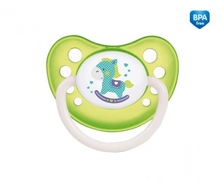 Suzeta ortodontica din silicon cu inel fosforescent 18 luni+ Verde