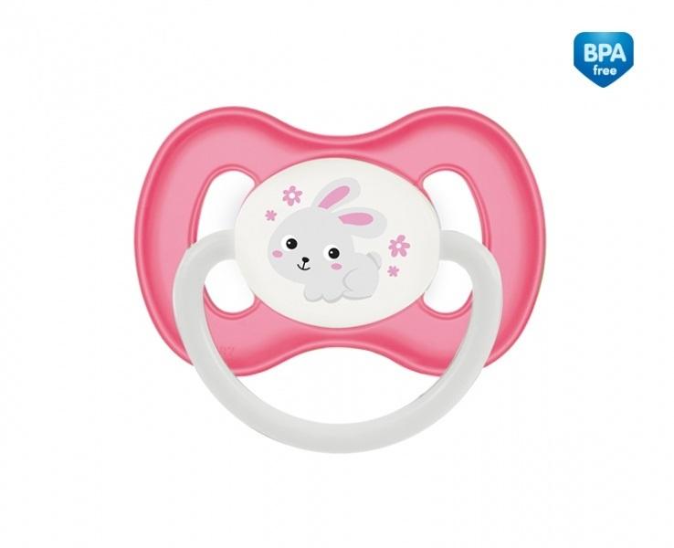 Suzeta ortodontica din silicon cu inel fosforescent 6-18 luni Roz