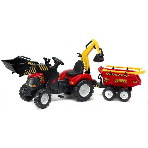 Tractor Powerloader Rosu cu Cupa Functionala Excavator Remorca Grebla si Lopata imagine