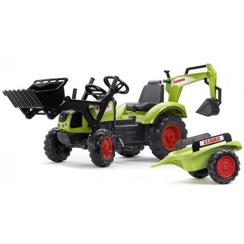 Tractor cu pedale Claas Arion 430 cu cupa, excavator si remorca