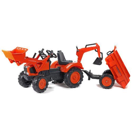 Tractor cu pedale Kubota cu cupa, remorca, excavator si scaun rotativ