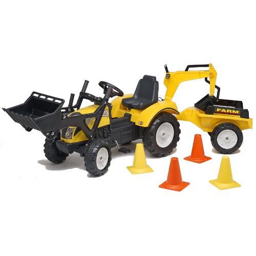 Tractor cu pedale Ranch Trac cu cupa, excavator, remorca si casca protectie