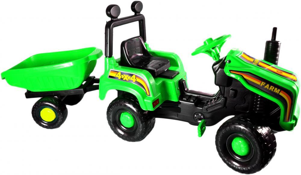 Tractor cu pedale si remorca Mega Farm green