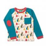 Bluza din bumbac organic Little Green Radicals Midnight Blue Bear Necessities 3-4 ani