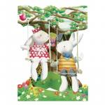 Felicitare 3D Swing Cards dinamica Iepurasi in leagan