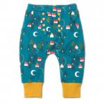 Pantaloni salvari din bumbac organic Little Green Radicals Forest Footprints 9-12 luni