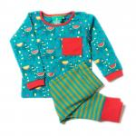 Set bluzita si pantalon din bumbac organic Little Green Radicals Jungle Elephant 9-12 luni