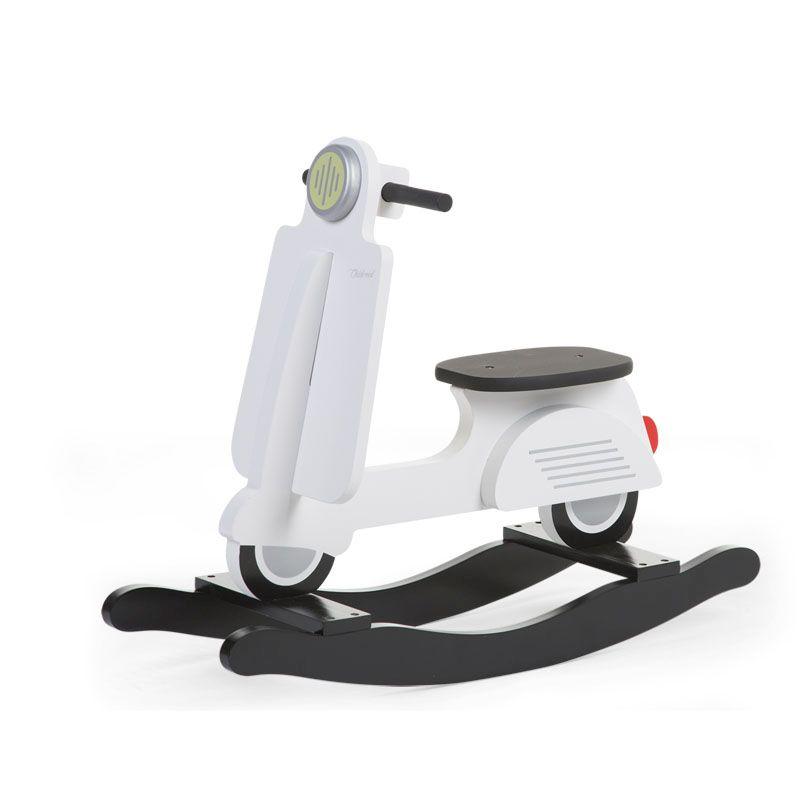 Balansoar din lemn tip scooter Black White