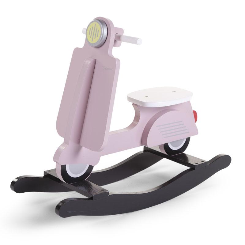 Balansoar din lemn tip scooter Pink