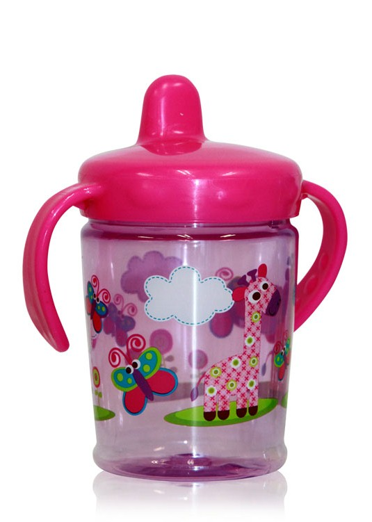 Cana cu manere si cioc ergonomic Zoo Pink