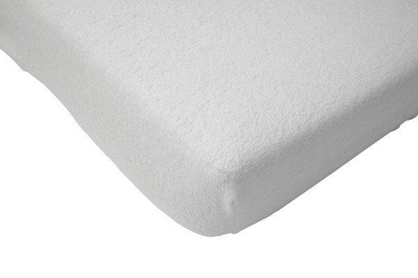 Cearsaf alb din frotir impermeabil pentru pat bebe 60x120 cm Jollein imagine