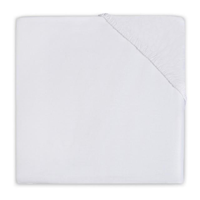Cearsaf alb din jerseu pentru pat bebe 60x120 cm Jollein
