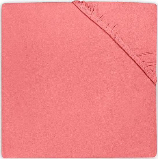 Cearsaf cu elastic pentru pat bebe 40x80 cm Jollein roz coral
